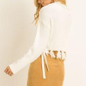 Tops - *SALE!*  FLIRTY Fringe Front Tie Sweater